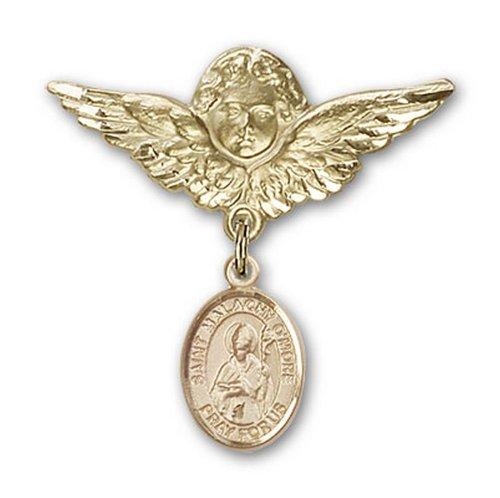 Icecarats Or Bijoux De Créateurs Rempli R. Broches Badge Malachy Omore Charme D'Ange 1 1/8 X 1 1/8