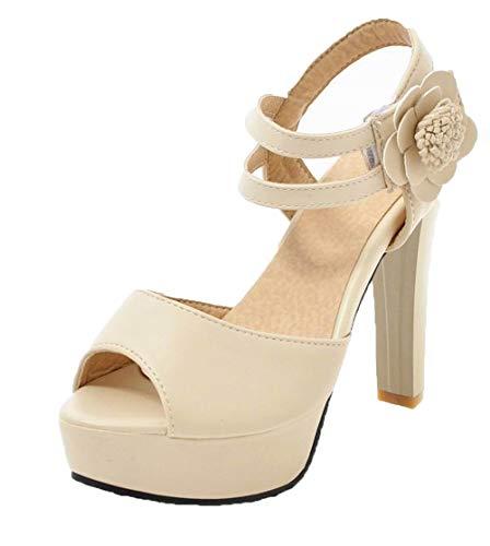 Unie Sandales Beige Haut à Couleur Femme Velcro AgooLar Talon GMBLB015434 qUXRRw