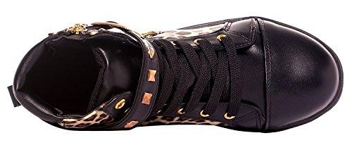 Blackleopard Mort Tm Pour Imayson Chaussures Tête Femme Éclair Top De Increat Lacets Sneaker High Fermeture Wedge À XUwaqTwd