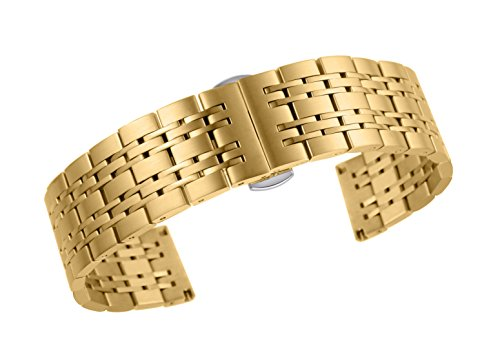 18mm luxury gold 316L stainless steel watch belt for men with solid links and elegant deployment (Esq Gold Watch)