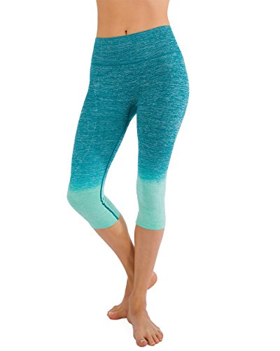 Homma Women's Premium Quality Active Workout Cropped Yoga Leggings Running Pants (Small, Jade/Mint)