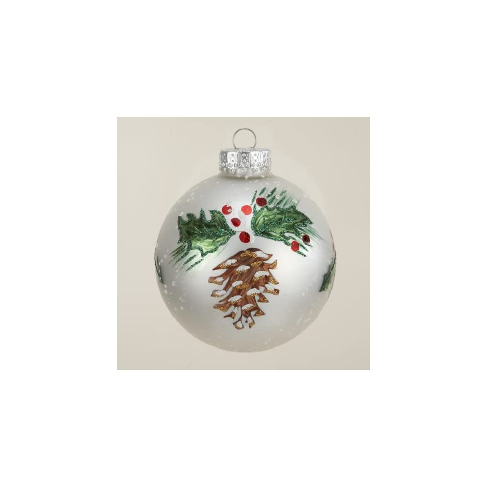 Pack of 24 Pine Cone and Holly Berry White Glass Ball Christmas Ornaments 2.5