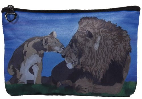 Lions Cosmetic, Lion Zipper Pouch - Support Wildlife Conservation, Read How - From My Original Painting, A Father's Pride ()