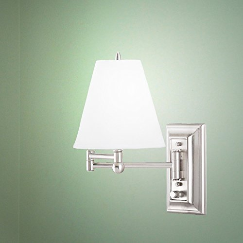 Brushed Nickel Wall Mount Swing Arm Reading Bedside Lamp Bedroom Light ()