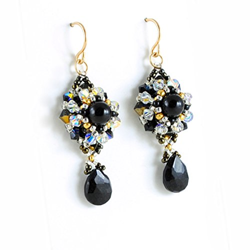 Black Gemstone Earrings with Black Garnet and Tourmaline Artisan Handcrafted in 14K Gold Filled