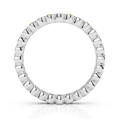 Or blanc 18carats 0,38CT G-H/VS sertie de diamants ronds Cut Saphir Jaune et éternité Bague Agdr-1099