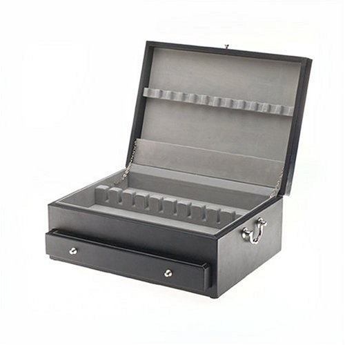 Black Leather Flatware Storage Chest with Drawer, Holds Service for 12 ()