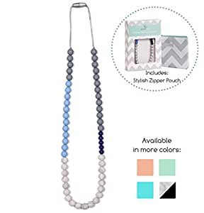 Goobie Baby Sophie Silicone Teething Necklace for Mom to Wear, Safe BPA Free Beads to Chew - Light Blue/Grey/Marble/Navy