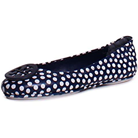 c9f5c72d1347da Tory Burch Minnie Travel Ballet Size 7.5 Nautica Dot Navy Ivory