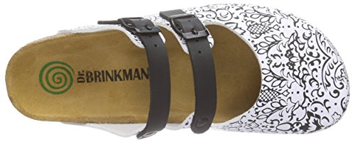 Dr. Brinkmann Damen 600369 Pantoletten Weiß (weiß/schwarz)