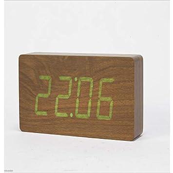YYGZ Despertador Reloj de sobremesa de Madera Led silenciador Despertador electrónico Creativo Madera A Tiempo: Amazon.es: Hogar