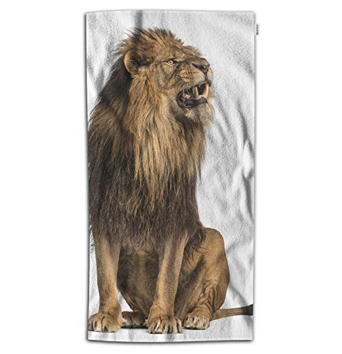 f0eaf98a6e4 Moslion Lion Bath Towel Nature Wild Animal Roaring Lions Leo with Brown  Feathers Towel Soft Microfiber Baby Hand Beach Towel for Kids Bathroom  32x64 ...
