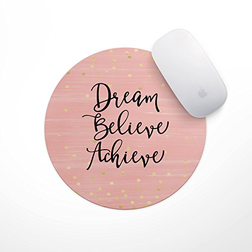 Dream Believe Achieve Gold Dots Mouse Pad - Neoprene Inspirational Quote Mousepad, Office Space Decor, Home Office, Computer Accessories