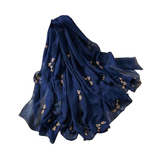 Peacur Womens Pop Fashion Lightweight Dragonfly Long Soft Wrap Rayon Scarf Ladies Premium Warm Winter Best Travel Shawl Scarfs (Navy)