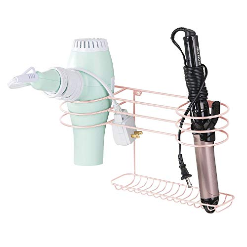 mDesign Wall Mount Metal Hair Care & Styling Tool Storage Organizer Center -