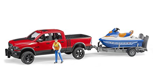 Bruder Ram 2500 Power Wagon with Trailer and Personal Water Craft with Driver Vehicles-Toys - Float Rear Axle