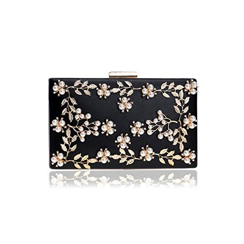 Women Evening Clutch Bags Pu Chain Shoulder Handbags Leaf Metal Beaded Evening Purse Messenger Bags,Black