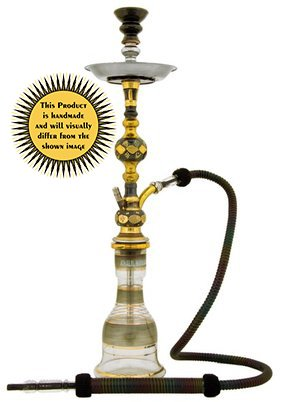 """KHALIL MAMOON KUWAIT TOWER OXIDIZED 31"""" COMPLETE HOOKAH SET: Single Hose shisha pipe. Handmade Egyptian Narguile Pipes. These are Traditional Heavy Metal Hookahs."""
