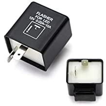iJDMTOY (1) 2-Pin Electronic LED Flasher Relay Fix For Motorcycle or Scooter Install LED Turn Signal Bulbs Hyper Flash Issues