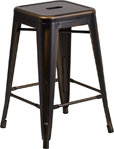 "Flash Furniture 24"" High Backless Distressed"