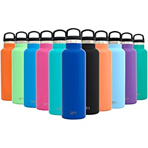 Simple Modern 20oz Ascent Water Bottle - Vacuum Insulated Double-Walled Standard Narrow Mouth 18/8 Stainless Steel Swell Flask with Handle Lid - Powder Coated Hydro Travel Mug - Twilight Blue