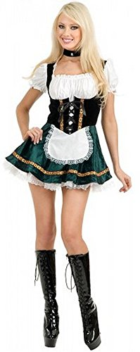 Deluxe Black & Green Beer Garden Girl Costume (Size: Large 11-13) (Beer Garden Girl Costume)