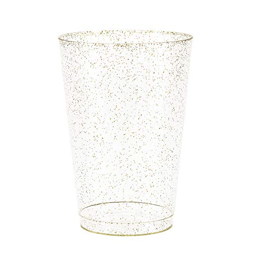 - 50 Gold Glitter Clear Hard Plastic Cups | 10 oz. Fancy Disposable Tumblers (50-Pack) by Bloomingoods