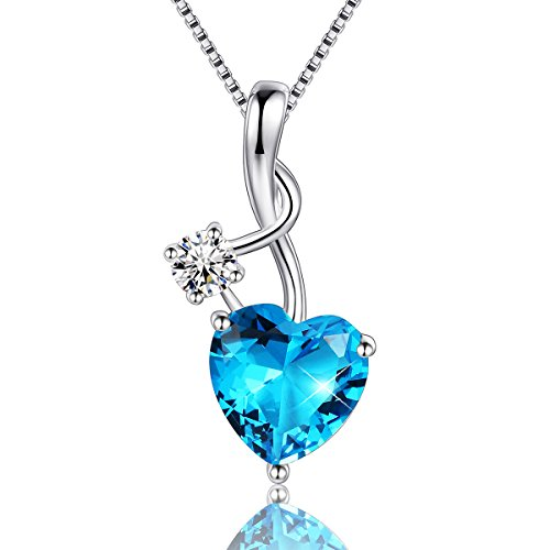 EURYNOME 925 Sterling Silver Music Note Blue Birthstone Love Heart Pendant Necklace,Box Chain 18'' ()
