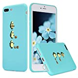 LuGeKe Cute Cartoon Avocado Print Phone Case for iPhone 7 Plus/iPhone 8 Plus Silicone Cases Comic Fruit Pattern Cover Shock Absorption Flexible Blue Skin Frame