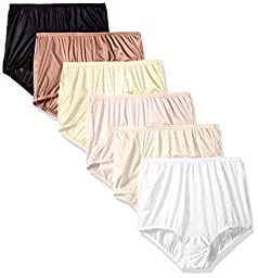 Vanity Fair Women\'s 6 Pack Perfectly Yours Ravissant Tailored Brief Panty 15113, Star White/Walnut/Midnight Black/Fawn/Candleglow/Blushing Pink, 7