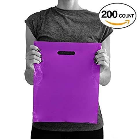 200 Purple Merchandise Bags 12x15 - 1.50 mil Extra Thick LDPE - Glossy Shopping Plastic Bag Bulk with Die Cut Handle - Medium Size - 100% Recyclable - TOP (Return Labels For My Orders)