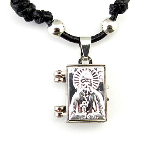 Christian Orthodox Greek Religious Pendant Necklace Locket with Stainless Steel Cross and Icon of Saint Paisios / 56