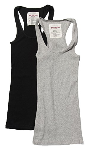 2 Pack Zenana Women's Basic Ribbed Tank Top 1x Black, H Gray ()