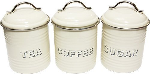 Cream Enamel Tea Coffee Sugar Storage Canisters ProdBuy Limited