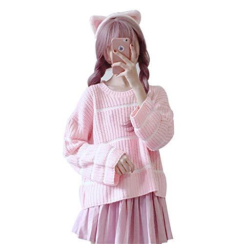 ニットセーター 長袖 レディース ガールズチュニックセーター 無地 韓国ファッション 秋冬 大きいサイズ ゆったり フェミニン シンプル ニット トップス