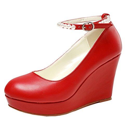 getmorebeauty Women's Wedge Mary Jane Diamonds Party Dress High Heel (9 B(M) US, Red) ()