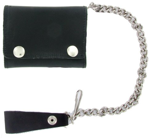 Geronimo BW1017 Black Tri-Fold Leather Wallet with Silver Snaps, Bags Central