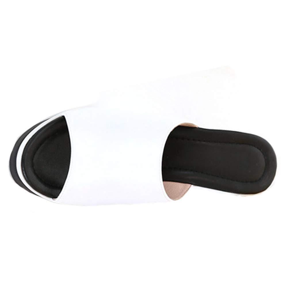 Hoxekle Women Wedges High Heel Platform Slippers Summer Slip On Platform Slides Soft Open Toe Comfortable Flip Flops