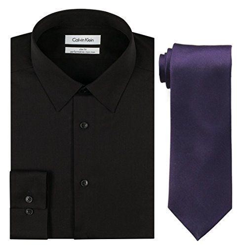 Calvin Klein Men's Slim Fit Herringbone Dress Shirt and Silver Spun Tie Combo, Black/Plum, 15