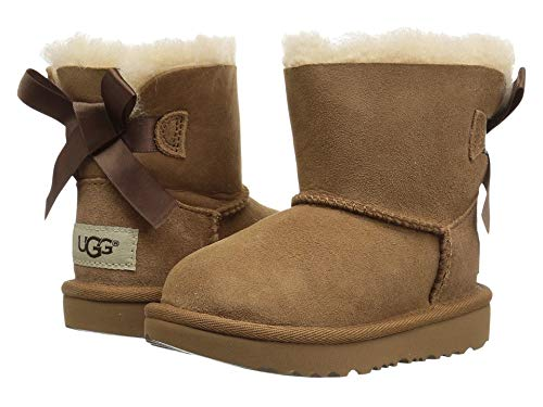 Ugg Girls Bailey Bow (UGG Girls T Mini Bailey Bow II Pull-on Boot, Chestnut, 8 M US)