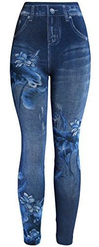 KMystic Women's Denim Print Fake Jeans Leggings (Blue Lily)