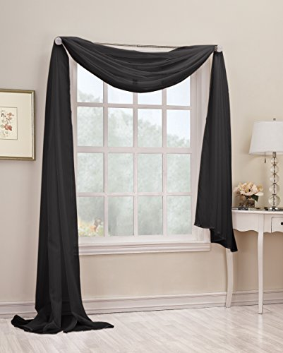 "No. 918 Emily Sheer Voile Window Scarf 216"" Valance, Black"