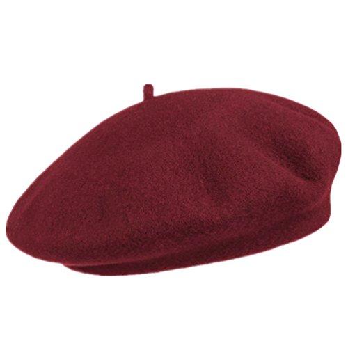 HITOP Damen Wolle Beret Mütze Flache Mützen Béret Wolle Baskenmütze Baseball Wollmütze Damenmütze Hut Cap (22 - Rotwein)
