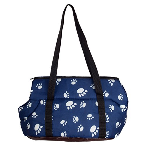 CueCue Pet Deluxe Cusioned Paw Print Pet Carrier, Small, Blue