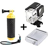 ADIKA Water Sports set for GoPro Floating Handle Hand Grip Monopod + 40m Clear for GoPro Waterproof Case Housing Skeleton (For GoPro Hero 3/3+/4) + LCD Touch Backdoor Accessories Bundle Kit