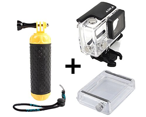ADIKA Water Sports set for GoPro Floating Handle Hand Grip Monopod + 40m Clear for GoPro Hero LCD Waterproof Case Housing Skeleton (For GoPro Hero 3/3+/4) + LCD Touch Backdoor Accessories Bundle Kit