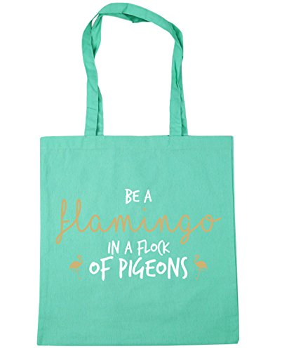 HippoWarehouse Be A Flamingo In A Flock Of Pigeons Tote Shopping Gym Beach Bag 42cm x38cm, 10 litres Mint