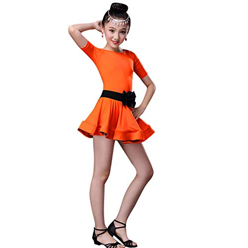 VEFSU Toddler Kids Girls Latin Ballet Dress Party Dancewear Ballroom Dance Costumes Orange 110 ()