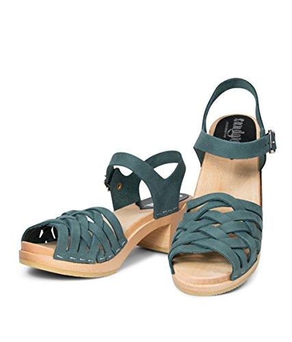 Swedish Wooden Low Heel Clog Sandals for Women | Madrid by Sandgrens Teal hZs8J9