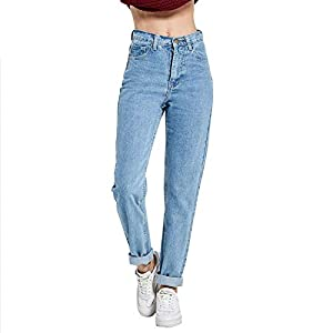 Sumen Women High Waist Embroidered Floral Denim Jeans Trousers Pencil Pants